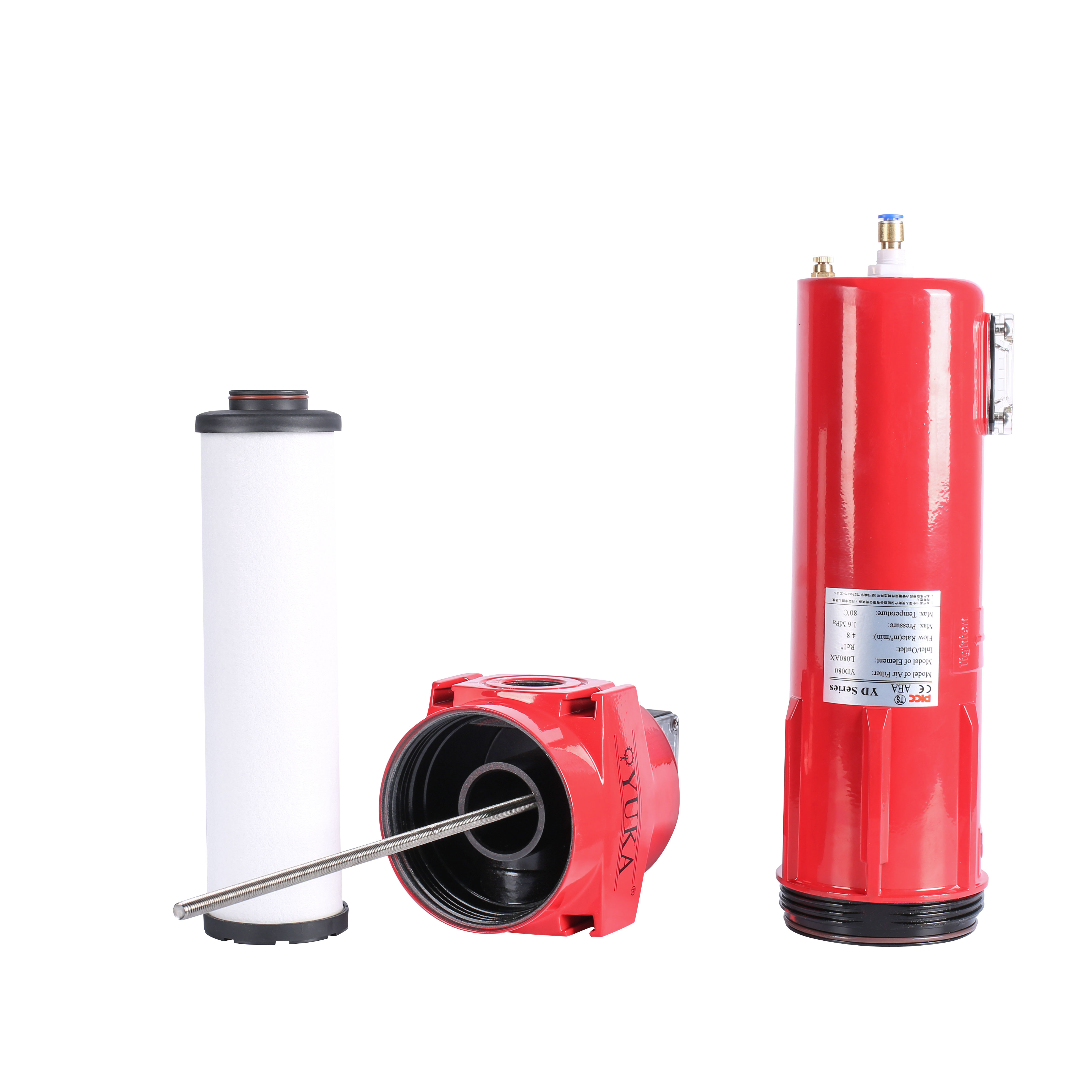 "YD080 RC1"" Flow Rate 4.8m³ / Min Activated Carbon Air FilterCompressed Air Filter"